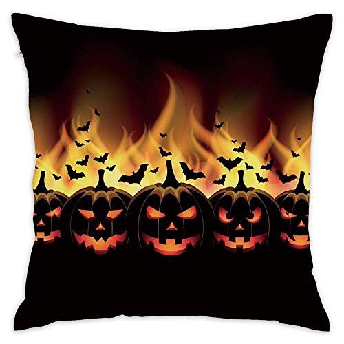 Hwensona Vintage Halloween,Happy Halloween Image with Jack o Lanterns on Fire with Bats Holiday,Black Scarlet 18