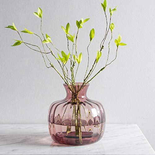 CASAMOTION Vases Hand Blown Art Glass Vase, Ripple Design Centerpiece Vases for Table, Purple
