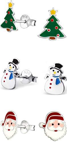 (Hypoallergenic Sterling Silver Christmas Stud Earrings Set for Kids (Nickel Free))