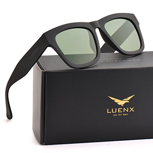 Mens Polarized Sunglasses for Womens UV 400 Protection Grey Green Lens Matte Black Frame 58MM,by LUENX with Case ()