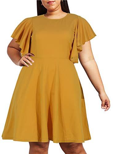 Nemidor Women's Vintage Ruffle Sleeve Party Midi Dress Plus Size Casual Summer Fit and Flare Dress NEM212 (24W, Yellow)