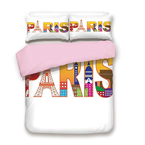 Pink Duvet Cover Set,King Size,Paris France Skyline with Cultural Icons Historical City Features Art Illustration,Decorative 3 Piece Bedding Set with 2 Pillow Sham,Best Gift For Girls Women,Multicolor -