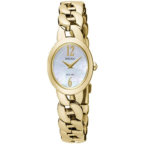 Seiko Women's Gold-Tone Steel Bracelet & Case Hardlex Crystal Solar MOP Dial Analog Watch SUP322