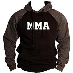 Men's Old School MMA V441 Black/Charcoal Raglan Baseball Hoodie Sweater Small Black