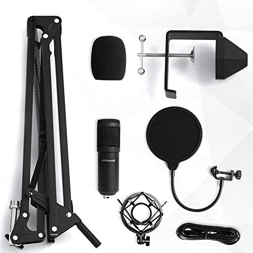 USB Streaming Microphone Kit, Stilnend Professional 192KHZ/24Bit Studio Cardioid Condenser Mic Kit with Sound Chipset Boom Arm Shock Mount Pop Filter, for PC Karaoke Skype Youtuber Gaming Recording