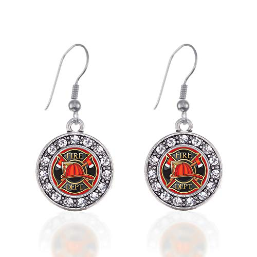 Inspired Silver - Fire Department Badge Charm Earrings for Women - Silver Circle Charm French Hook Drop Earrings with Cubic Zirconia Jewelry ()