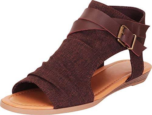 Cambridge Select Women's Crisscross Strappy Buckle Cutout Stacked Wedge Sandal,10 B(M) US,Brown