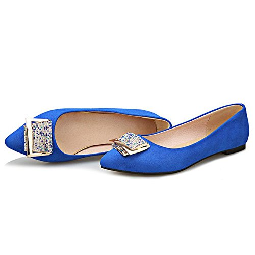 Size Women with Plus Toe Mini Smilice Comfortable Blue Flats Pointed Shoes FWa4ccqwzd