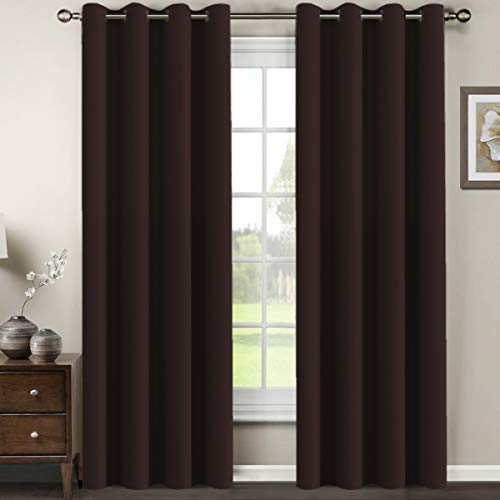 H.VERSAILTEX Premium Blackout Curtains for Living Room 84 Inches Length, Blackout Curtains for Bedroom Thermal Insulated Drapes - Chocolate Brown, 1 Panel