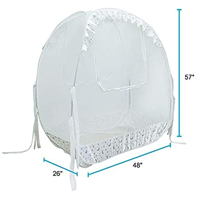 "Houseables Baby Crib Safety Net, Mosquito Bed Netting Tent for Babies, White, 48"" X 26"" X 57"", Mesh, Toddler Pack N Play Canopy, Pop up Protection for Infants, Sleeping Beds, Insect Bumper Cover"