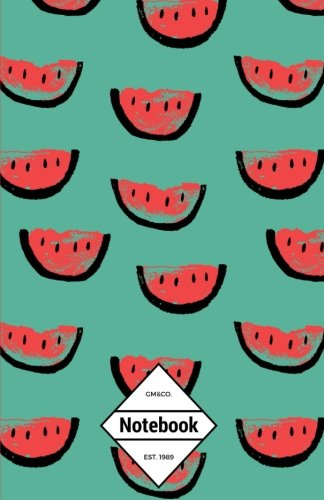 """GM&Co: Notebook Journal Dot-Grid, Lined, Graph, 120 pages 5.5""""x8.5"""": Tropical Summer Paradise Beach Watermelon"""