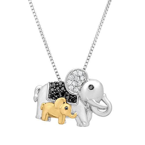1/6 ct Black & White Diamond Elephant Pendant Necklace with in Sterling Silver & 14K Gold