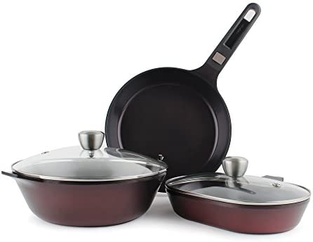 MyPan 6-Piece Ceramic Non-Stick Cookware Set with Detachable Handle, Ruby Red, Glass Lids