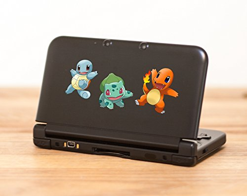 Pokemon starters Decal– High quality decal with Bulbasaur, Charmender and Squirtle for Nintendo 3DS XL – - Priority How Long Mail Usps