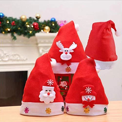 4PCS Non-woven Christmas Hat with Santa Claus Snow