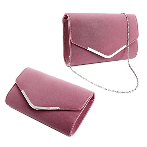 Velvet Pink Flap Bag Curved Purse Topped Structured Carry Anladia Clutch V Envelope Bar Women 6nBwSZxdxq