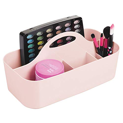 mDesign Plastic Makeup Storage Organizer Caddy Tote - Divided Basket Bin, Handle for Eyeshadow Palettes, Nail Polish, Makeup Brushes, Cosmetic and Shower Essentials - Large - Light Pink/Blush