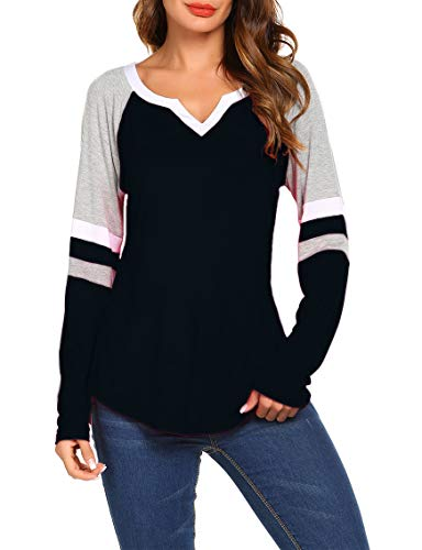 Sweetnight Ladies V Neck Basic T-Shirt Loose Fit Casual ()