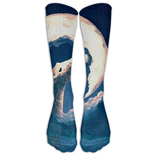 Womens Mens Novelty Giraffe Eats Moon Tube Knee High Socks Casual Dress Cotton Socks For - Shoes Dries Noten Men Van