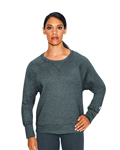 Champion Women's Fleece Boyfriend Crew Sweatshirt, Granite Heather, Medium