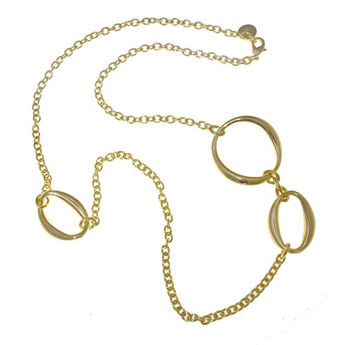 Collection Bijoux 18K Gold Plated Long Necklace With Large Oval And Small Circle Links (Small Link Necklace Oval)