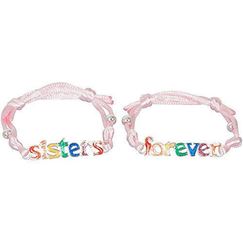 Sisters Forever Rainbow Glitter Bracelet Set with Pink Satin for Teens