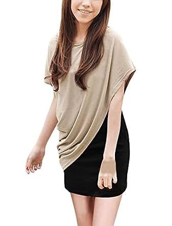 Allegra K Lady Scoop Neck Sleeveless Dress w Asymmetric Hem Shirt Beige Black XS