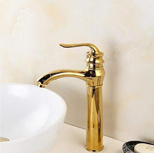 JingJingnet 良い品質デッキマウントシングルハンドルゴールド浴室盆地ホット&コールドミキサータップ盆地蛇口 (Color : A) B07RY1N4V3 A