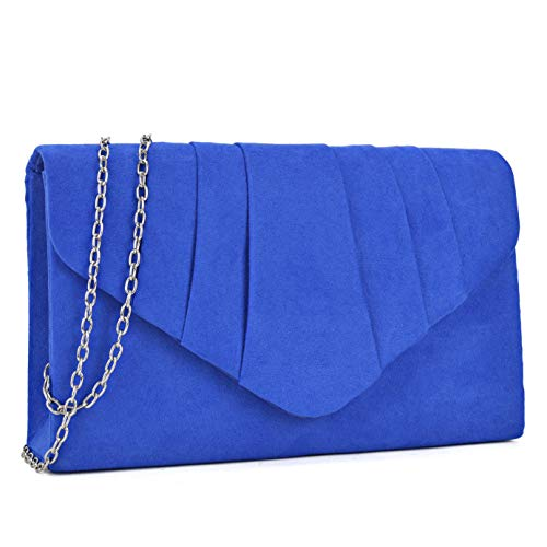 - Dasein Womens Evening Bag Velvety Pleated Envelope Clutch Handbag Wedding Party Bridal Purse (Blue)