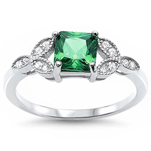 Art Deco Design Wedding Engagement Ring Princess Cut Simulated Green
