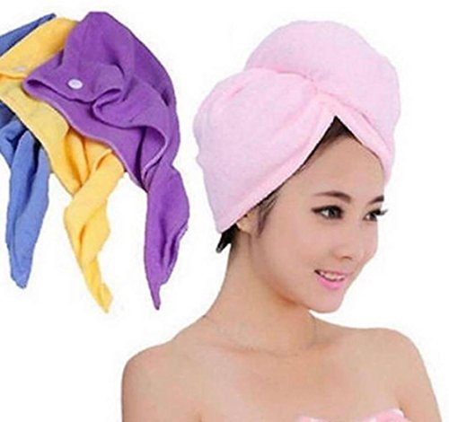 3 Pack Hair Towel Wrap, Turban Microfiber Drying Bath Shower Head Towel with button, Quick Magic Dryer, Dry Hair Hat, Wrapped Bath Cap by AgapeMe, (Yellow, Pink, Purple) by AgapeMe