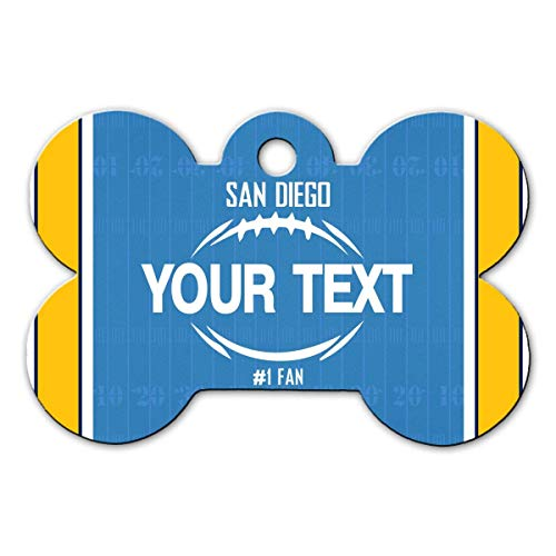 BRGiftShop Personalize Your Own Football Team San Diego Bone Shaped Metal Pet ID Tag with Contact Information