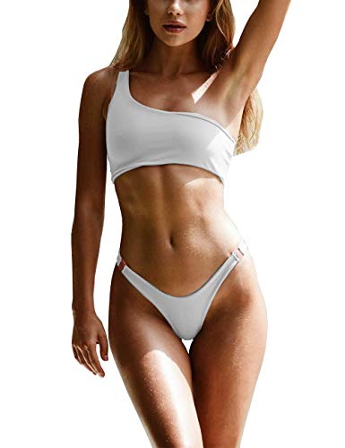 - IBIZA VIBE One Shoulder Bikini Set Sexy Bandeau Clasp Two Piece Swimsuits for Women Solid Color Sporty Bathing Suit (White, S(US0-2))
