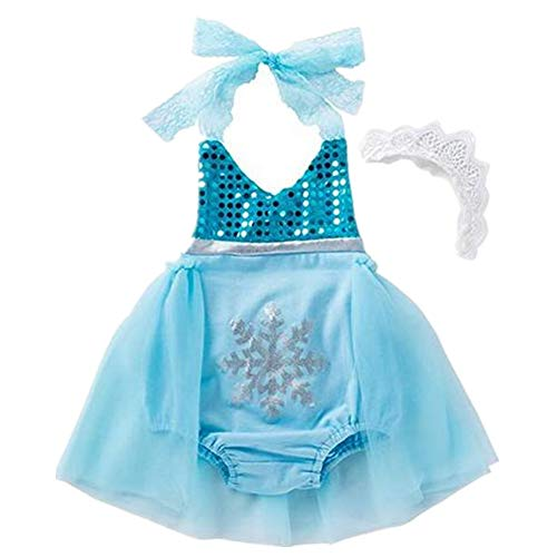 Tsyllyp Baby Girls Sequins Halloween Romper Elsa Outfit ()