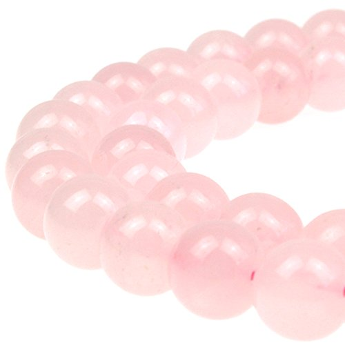 Pink Jade Heart Beads - JarTc 7A Pure Natural Rose Quartz Beads Round Loose Beads for Jewelry Making DIY Bracelet 15