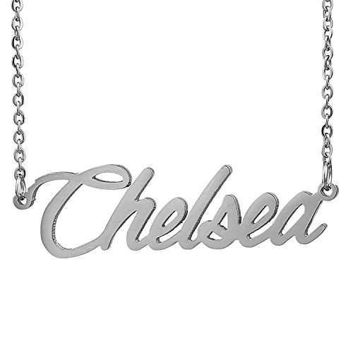 HUAN XUN Stainless Steel Name Necklace Silver, Chelsea