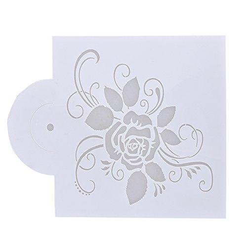 Whitelotous Fondant Cake Decorating Stencil Template Buttercream Spray Mould DIY Decor (Rose)