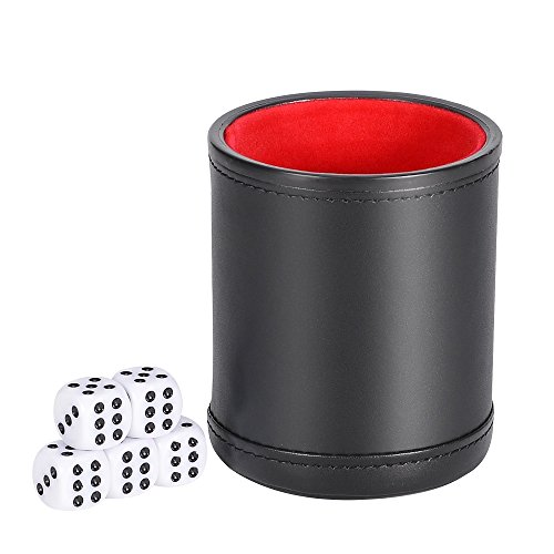 Smonet Traditional Professional PU Leather Dice Cup Set with 5 Poker Dices and Cotton Canvas Storage Bag (Black, Pack of 1)
