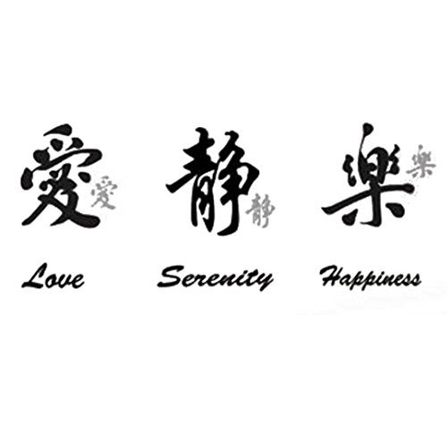 ZaZaTool - LOVE SERENITY HAPPINESS CHINESE WORDS WALL STICKERS Vinyl Wall Decals Home Décor