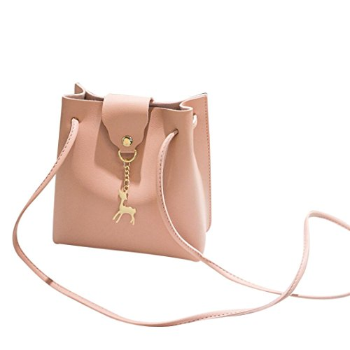 Clearance! Women Shoulder Bags, Neartime 2018 Fashion Solid Deer Cover Crossbody Bag Bucket Bag Square Phone Coin Bag (❤️17cm(L)×23cm(H)×9cm(H), Pink) (Bag Winters Fringe)