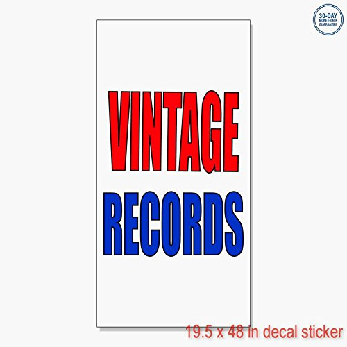 Vintage Records Vinyl Decal Label Sticker Retail Store Sign - Sticks to Any Clean Surface 19.5 x 48 in -