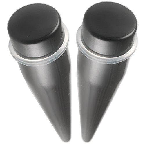Paire oreille elargisseur lobe plug écarteur 22mm acrylique noir bijouterie piercing FFEN.