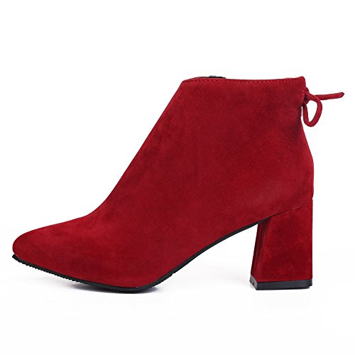 Pointed Toe Back fereshte Red Suede Heels Lace Casual Mid Fashion Women's Ladies Boots Ankle qrXwznxOXI