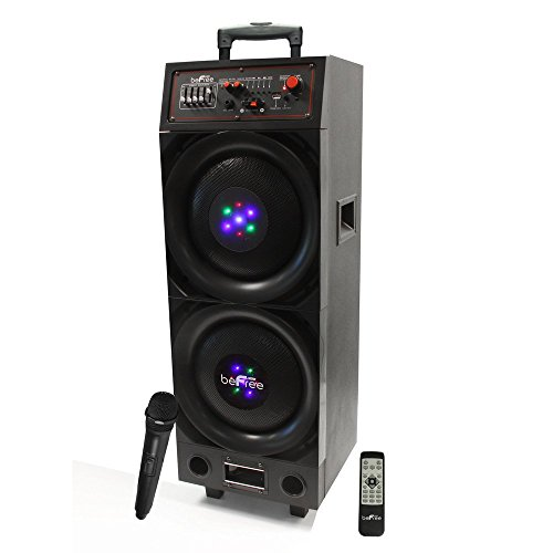 800w Woofer - BEFREE SOUND BFS-8005 Double Subwoofer Rechargeable Bluetooth Portable Speaker with USB/SD FM Radio, 800W
