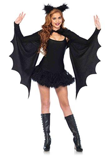 Leg Avenue Women's Cozy Bat Shrug and Headband, Black, One Size