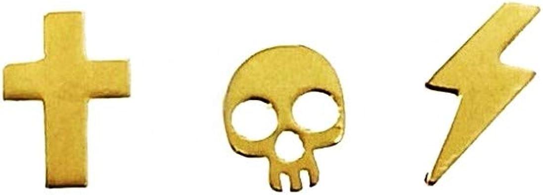 Pendientes mini plata Ley 925m chapada oro pack x3 cruz calavera ...