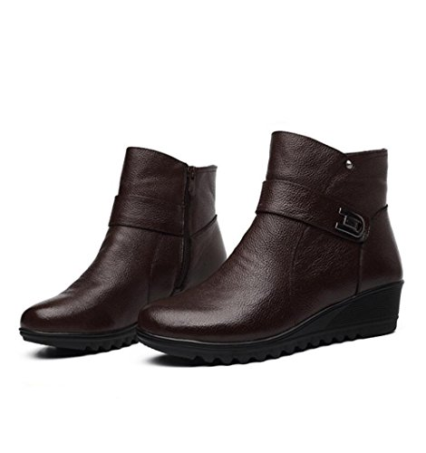 KHSKX-With Height 4 Cm Leather Mother Cotton Shoes Brown And Velvet Elderly Female Boots 35