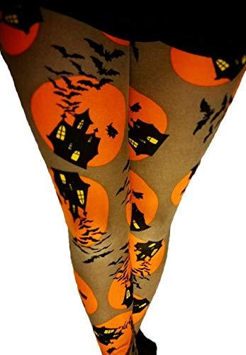 94d78579c996a Amazon.com: Womens Halloween Pumpkin Devil Print Tights Costume Base Layer  Long Pants Slim Fit Workout Leggings Trousers: Clothing