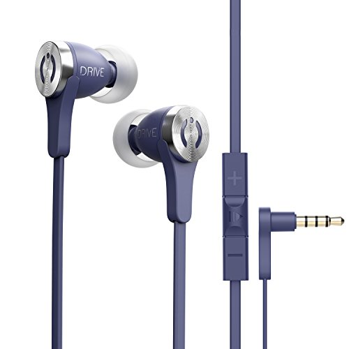 MuveAcoustics Drive Wired in-Ear Earbud Headphones - Noise Cancelling Premium Stereo Headphone Earbuds w/Mic, Ergonomic fit for Men & Women, Blue ()