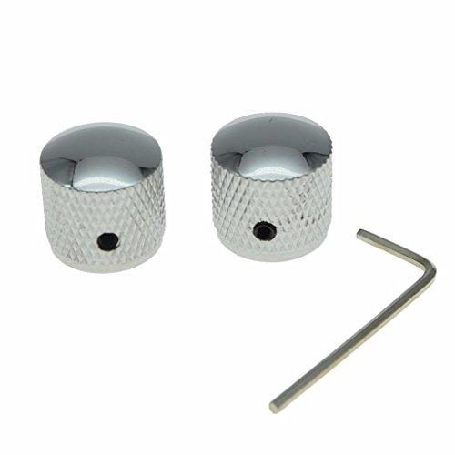 Dopro Set of 2 Guitar Dome Knobs 20mm Bass Knobs with Set Screw for Tele Telecaster P Bass Precision Bass Chrome